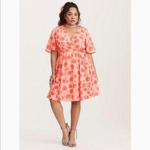 Torrid Pink Red Georgette Short Sleeve Wrap Dress